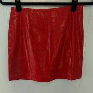Express Red Faux Snake Skin Mini Skirt Stretch